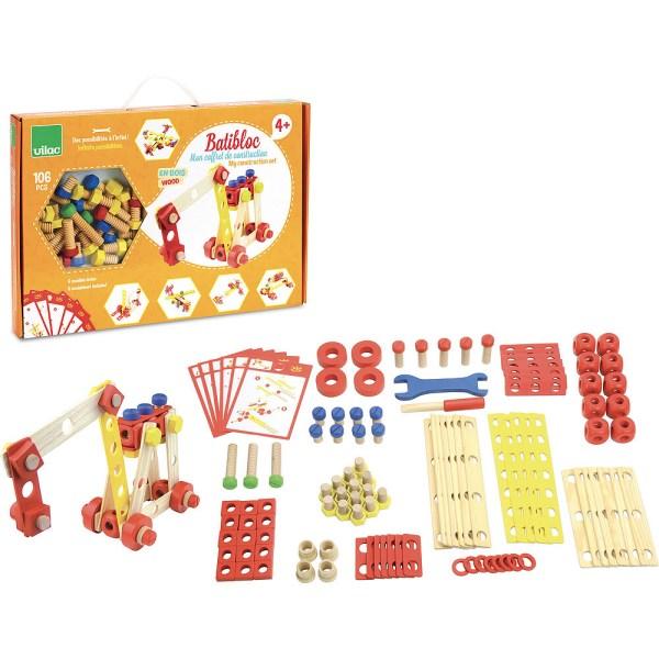 Batibloc boite orange et contenu avec cartes de construction et tous les éléments