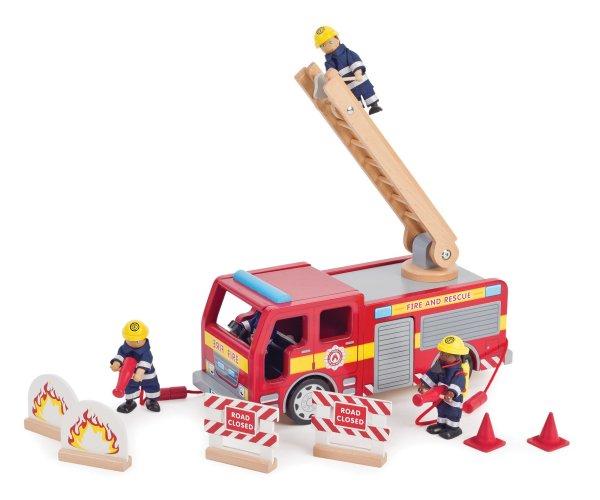 Camion de pompiers feu lance à incendie grande échelle