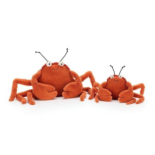 La peluche Crispin le Crabe est une peluche trop rigolote pour la naissance ! Avec ses grandes pinces toutes douces, ses petites antennes et sa belle couleur orange, bébé sera enchanté.