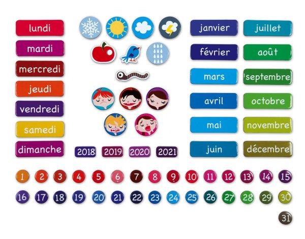 calendrier magnétique jour mois année temps janod juratoys