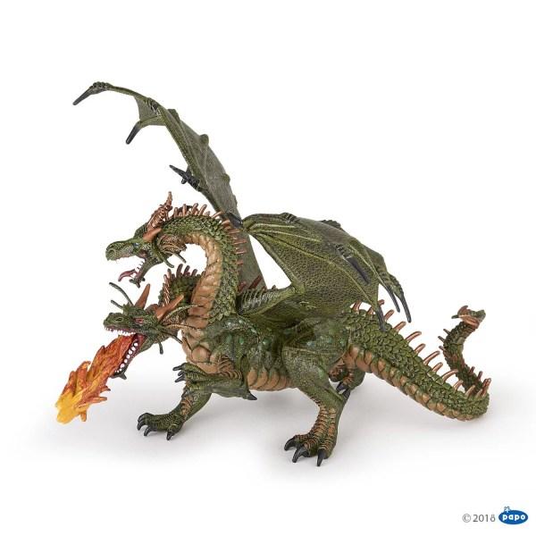 Figurines Fantastique, Dragon deux têtes vert, Papo, Bidiboule