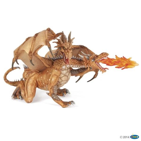 Figurines Fantastique, Dragon deux têtes or, Papo, Bidiboule