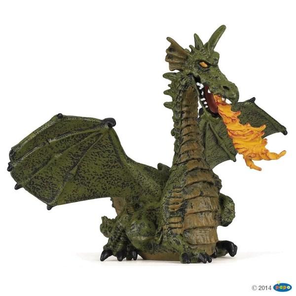 Figurines Monde enchanté, Dragon ailé vert avec flamme, Papo, Bidiboule