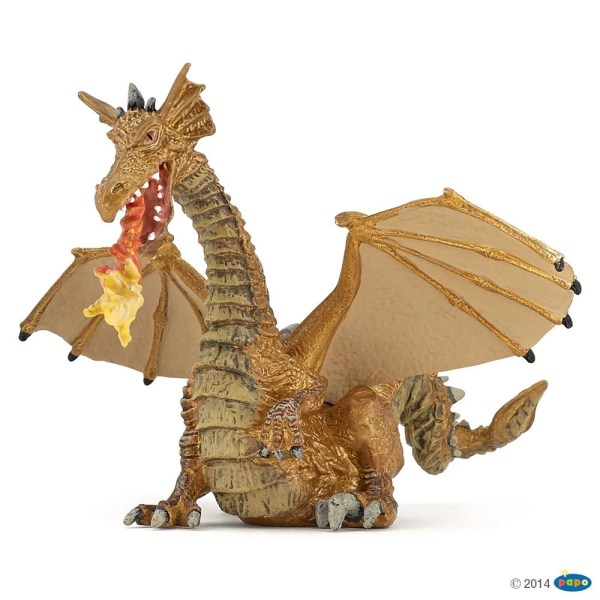 Figurines Monde enchanté, Dragon or avec flamme, Papo, Bidiboule
