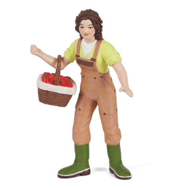 Figurines Animaux de la ferme, Fermière avec panier, Papo, Bidiboule