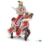 Roi au dragon rouge avec lance et son cheval