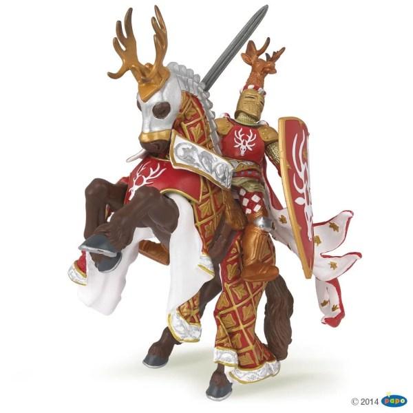 Figurines Chevaliers, Chevalier Maître des armes rouge cerf, Papo, Bidiboule
