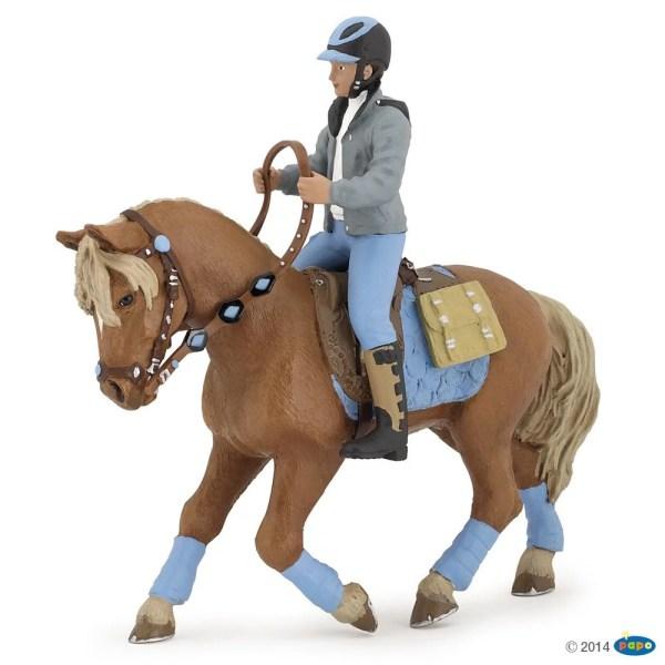 Figurines Chevaux, Jeune cavalier et son cheval, Papo, Bidiboule