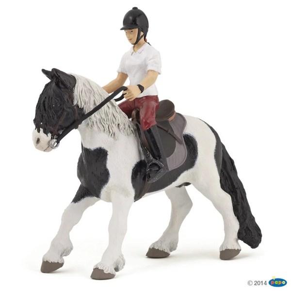Figurines Chevaux, Jeune cavalière et son poney, Papo, Bidiboule