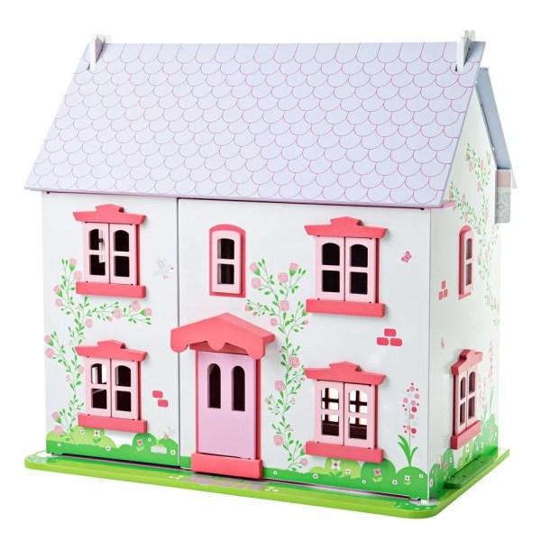 Très bien conçue, cette maison de poupées rose très solide en bois se présente sur 3 étages et a un toit qui s'ouvre pour pouvoir jouer à l'intérieur.