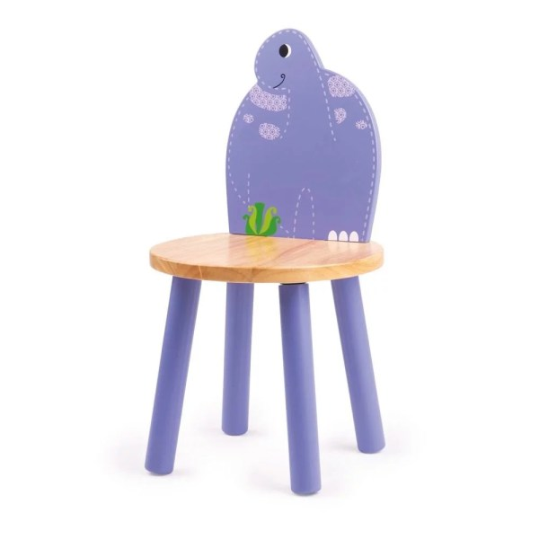 Chaise dinosaure en bois mauve à l'image du Brontosaure
