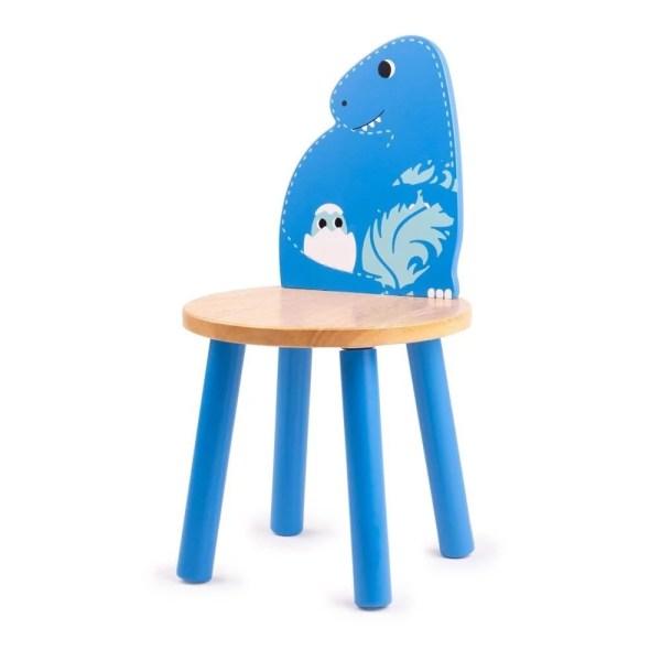 Chaise dinosaure en bois bleue à l'image du T-Rex