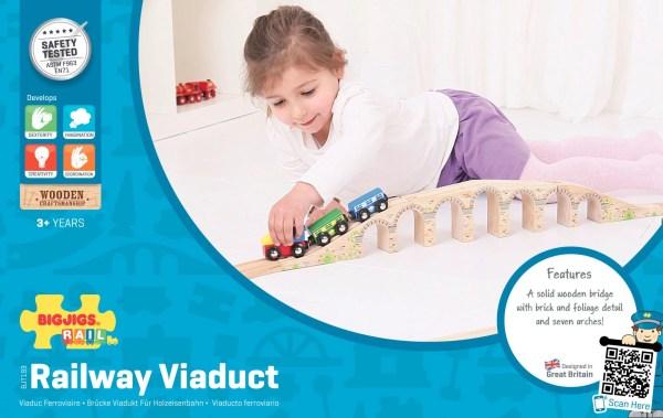 Le viaduc pont pour circuit de train en bois est compatible avec toutes les grandes marques de circuits de train et chemins de fer en bois.