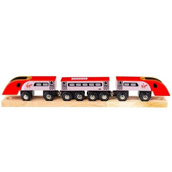 La locomotive et les wagons du train en bois Virgin se connectent magnétiquement ce qui permet de les joindre facilement entre eux et aussi de les connecter à d'autres types de trains à connections aimantées.