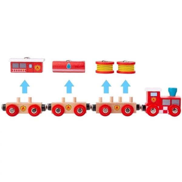 Le train en bois des pompiers magnétique est compatible avec toutes les grandes marques de circuits de train et chemins de fer en bois.