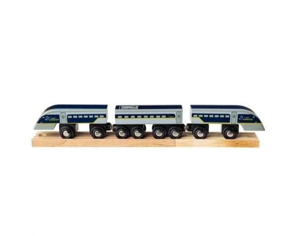 Parfaite réplique du célèbre train du même nom, ce train Eurostar en bois est composé de 2 locomotives, d'un wagon et de 2 voies ferrées en bois.