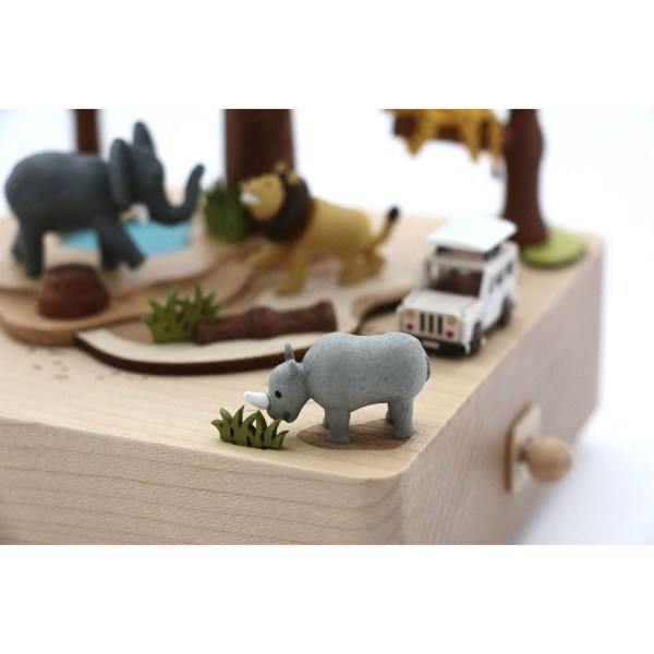 détails sur le rhinocéros qui mange de la Boîte à musique Safari
