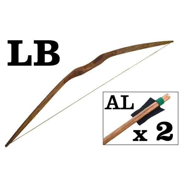 Grand arc en bois avec 2 flèches à plumes