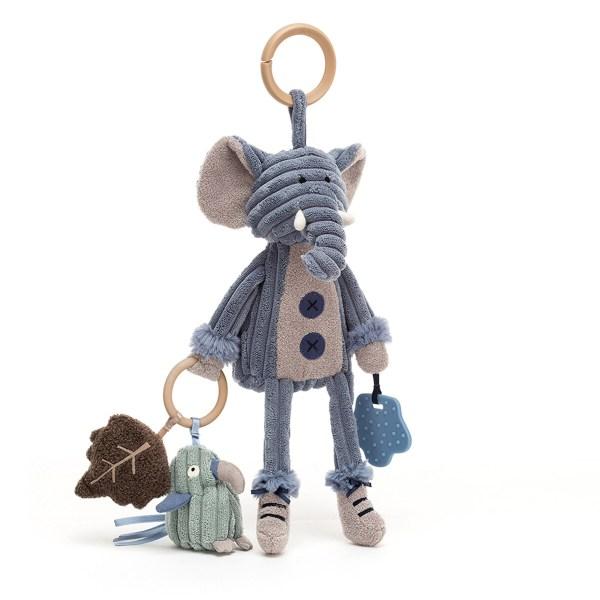 """Chaquejouet d'activités Cordy transporte un anneau de dentition en plastique souple, une feuille toute douce qui fait """"pouet"""" lorsqu'on appuie dessus et un petit animal qui fait un bruit de hochet. Des rubans de satin viennent compléter tout cet équipement qui va mettre tous les sens de Bébé en éveil. En plus, un bruit de froissement se fait entendre lorsqu'on appuie sur le ventre de ce jouet d'éveil. Le Cordy éléphant a une couleur bleu pâle très douce et transporte un perroquet."""