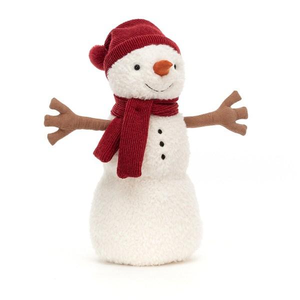 La peluche Bonhomme de neige Teddy est une peluche très douce en forme de bonhomme de neigequi convient aux bébés dès la naissance. Teddy a tout l'équipement nécessaire du parfait bonhomme de neige : une carotte orange en guise de nez, des branches marrons en guise de bras et même un bonnet et une écharpe de laine rouge. On dirait que ses jolis yeux noirs et les trois boutons de don pull ont été faits avec des marrons.
