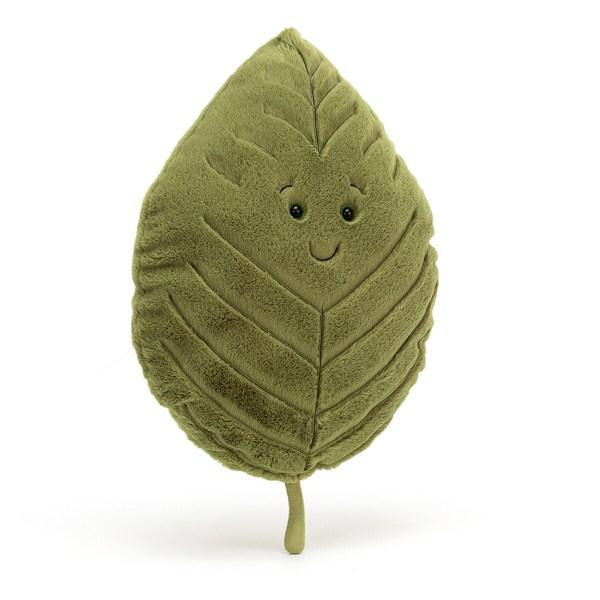 En forme de feuille d'érable, de chêne ou de hêtre, la peluche a une texture très douce et est de grande taille