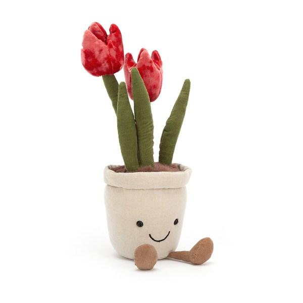 La peluche fleur amusante tulipe est un beau rouge framboise et d'une douceur incomparable.