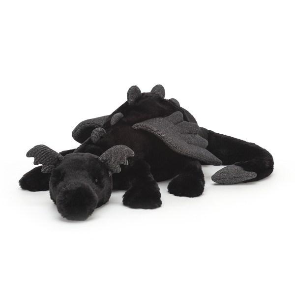 La peluche Onyx Dragon noir est une peluche d'une douceur exceptionnelle qui représente un dragon. Elle convient aux bébés dès la naissance. Onyx est une peluche de couleur noir profond, ses ailes, ses oreilles, les écailles de son dos et du bout de sa queue sont de couleur grise.