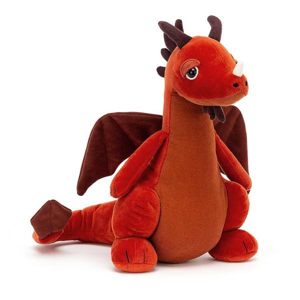 La peluche Paprika le Dragonest une peluche d'une douceur exceptionnelle qui représente un dragon. Elle convient aux bébés dès la naissance. Bien qu'il n'en crache pas, Paprika le Dragon a une couleur de feu ! Ses ailes et le bout de sa queue sont marron daim.