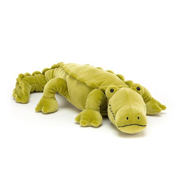 La peluche crocodile Zigzag est une peluche très douce qui conviendra aux bébés dès leur naissance. Sa belle couleur citron vert et ses gros yeux globuleux vont charmer Bébé. A la place des écailles, ce doudou original a un pelage très doux que l'on adorera caresser.
