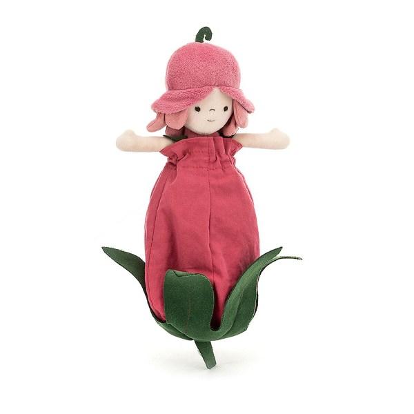 La poupée Petalkin rose est une poupée en tissu très douce qui convient aux enfants dès la naissance. A la fois poupée, peluche et doudou, cette délicate poupée vit dans un bouton de rose qui se transforme en jupe !
