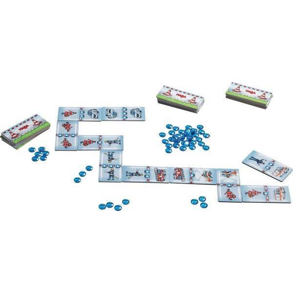 Contenu du jeu dominos pin-pon avec les dominos et les gyrophare
