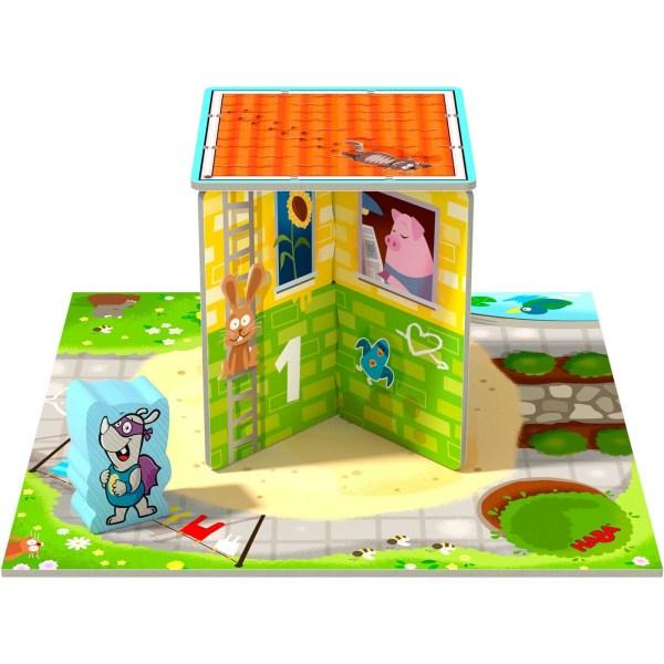 Plateau du jeu Rhino Hero Junior avec le personnage et les murs numéro 1