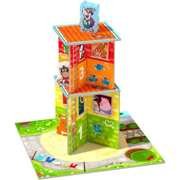 Début de la tour Rhino Hero Junior avec les murs 1 et 2