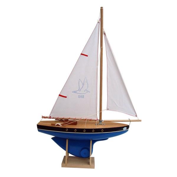 Voilier en bois à quille ronde avec une taille de 40cm et une coque bleue