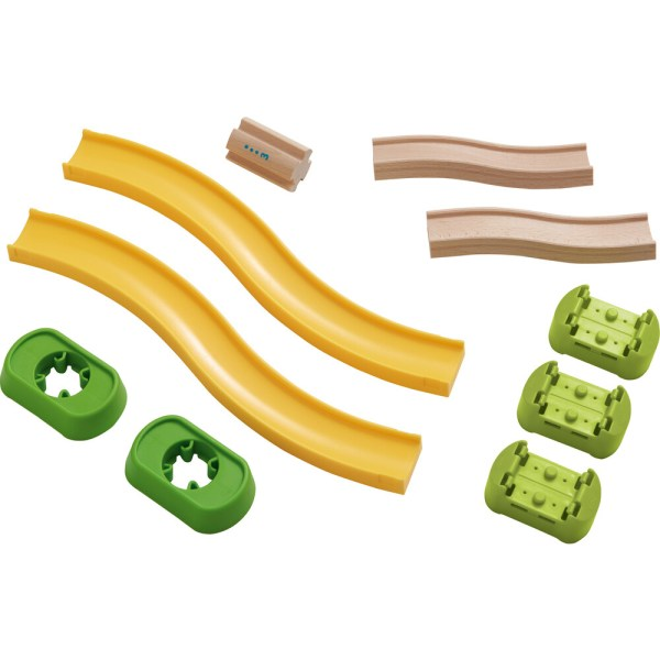 Accessoires Toboggan circuit Kullerbu rampes en plastique jaune et en bois avec des raccords verts