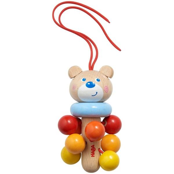 Hochet à suspendre ours avec une ficelle rouge et des boules rouges oranges et jaunes