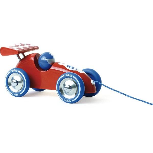voiture de course à trainer en bois rouge fabriquée en France