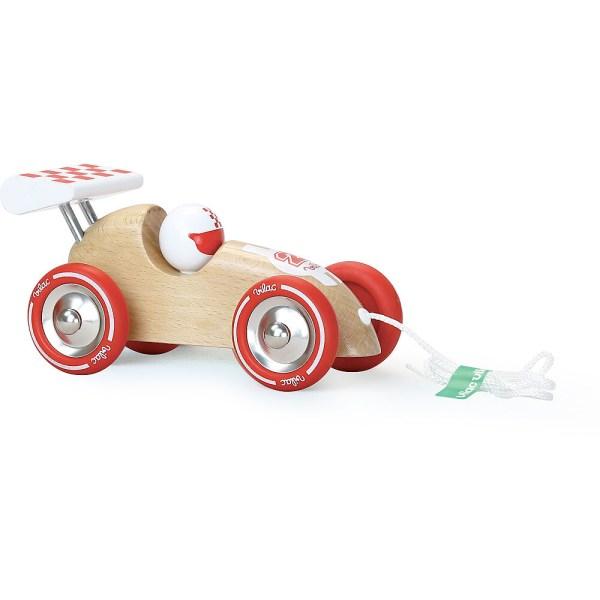 voiture de course à trainer en bois naturel fabriquée en France