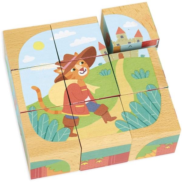Cubes en bois puzzles les contes