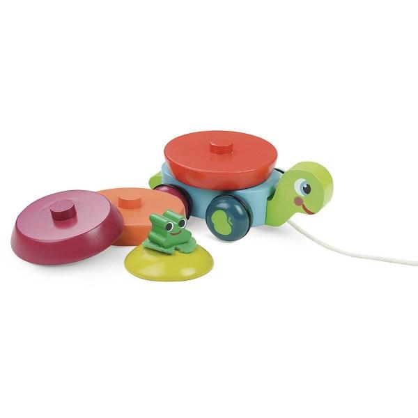 Léonie la tortue en bois avec sa carapace composée de différents disques de couleurs défaite