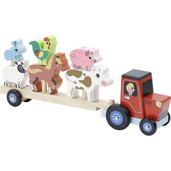 Empil'ferme en bois avec un tracteur et une remorque avec trois piques où sont empilés lapin mouton coq cheval cochon et vache