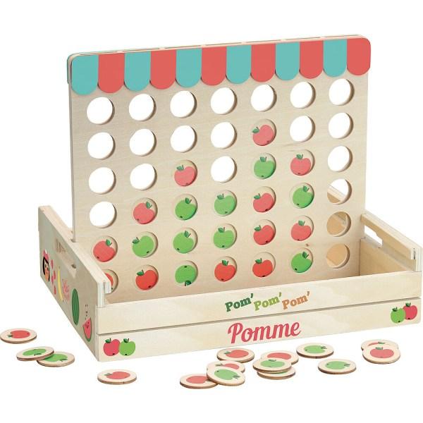 partie en cours avec des pommes rouges et vertes du jeu 4 à la suite
