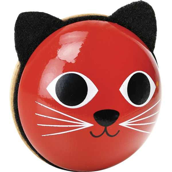 Hochet maracas en bois chat rouge