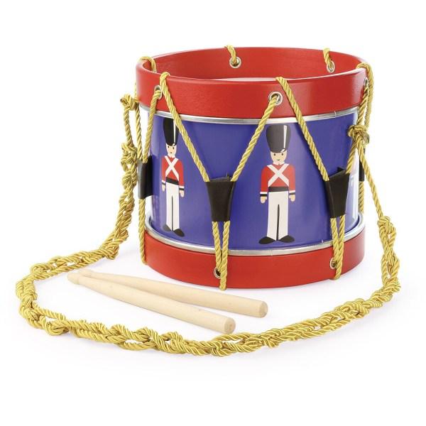 Tambour bleu et rouge en bois avec 2 baguettes une corde jaune et des petits bonhommes dessinés tout autour