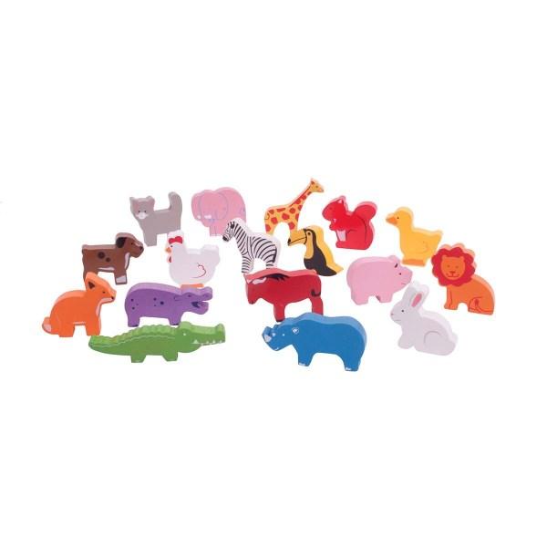 17 animaux colorés de la Boîte à formes Bus des animaux