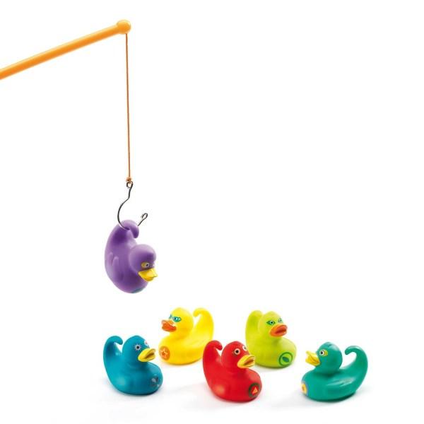 Pêche aux canards Ducky avec 6 canards vert jaune turquoise rouge violet bleu