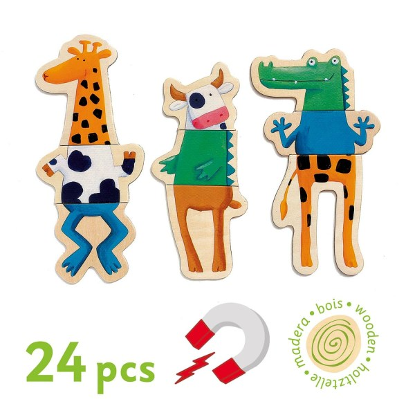 3 animaux mélangés de Crazy magnets en bois