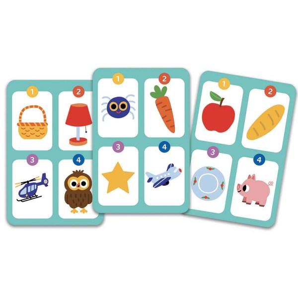 3 cartes du jeu Motamo Junior avec 4 images sur chaque