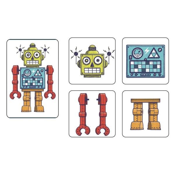 Carte défi et 4 cartes pièce de robots correspondantes du jeu Mémo Robots