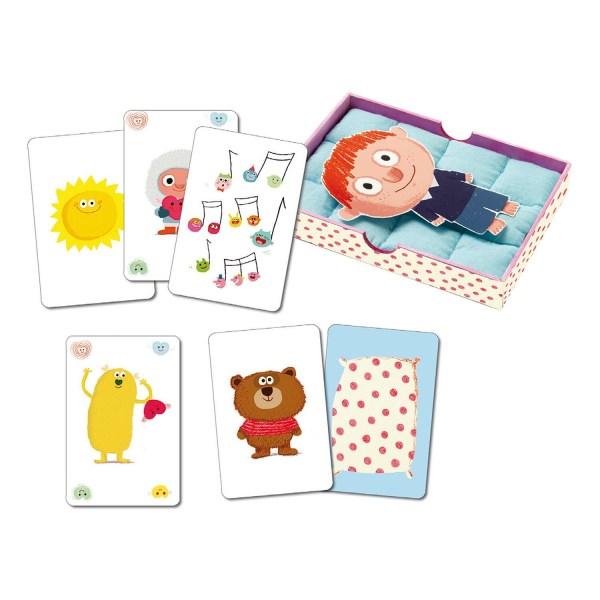 cartes du jeu bisous dodo avec un personnage dans le lit et les différentes cartes soleil chansons câlin bisous doudou draps